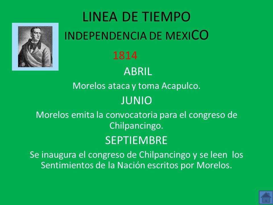 LINEA DE TIEMPO INDEPENDENCIA DE MEXICO 1813 FEBRERO Las fuerzas de Callejas ponen sitio a Cuautla defendida por Morelos y sus hombre. MAYO Morelos ro