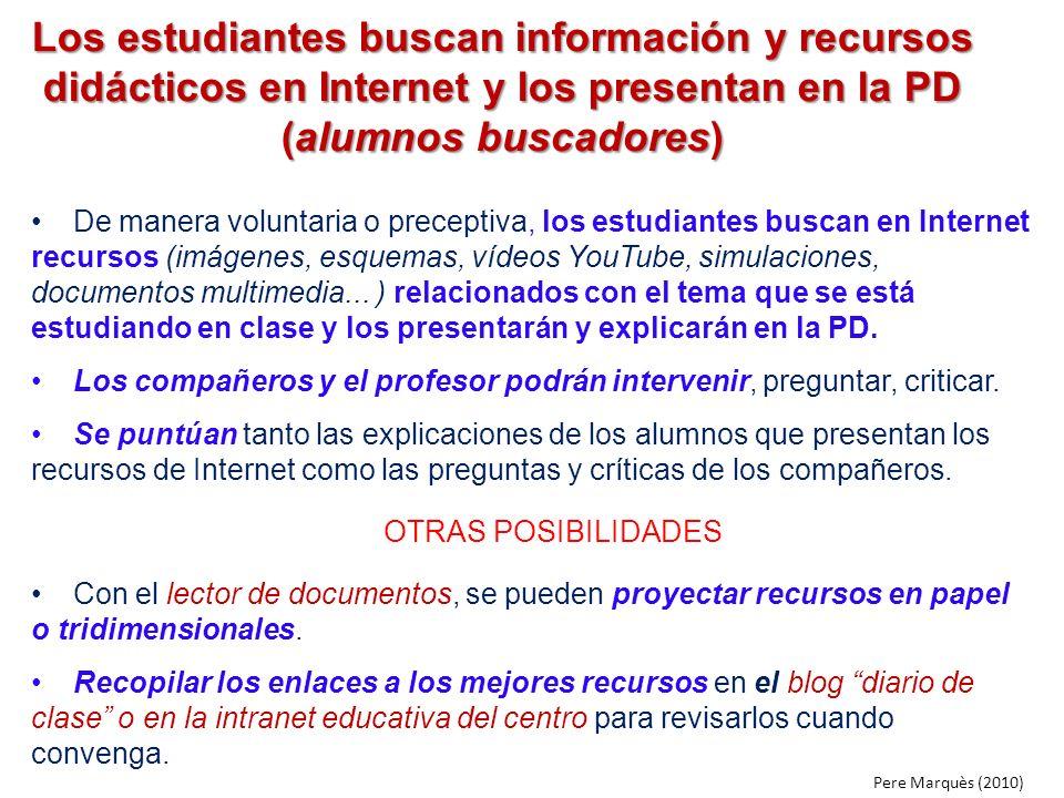 Los estudiantes buscan información y recursos didácticos en Internet y los presentan en la PD (alumnos buscadores) De manera voluntaria o preceptiva,