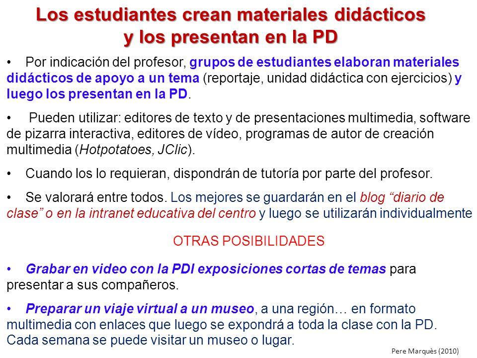 Los estudiantes crean materiales didácticos y los presentan en la PD Por indicación del profesor, grupos de estudiantes elaboran materiales didácticos