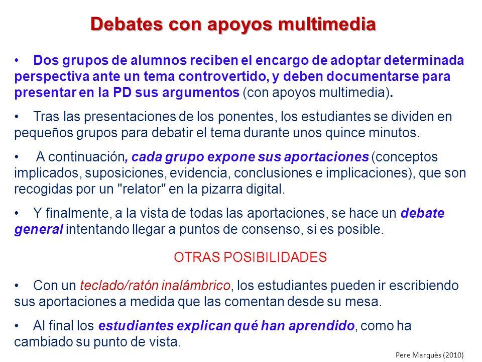 Debates con apoyos multimedia Dos grupos de alumnos reciben el encargo de adoptar determinada perspectiva ante un tema controvertido, y deben document