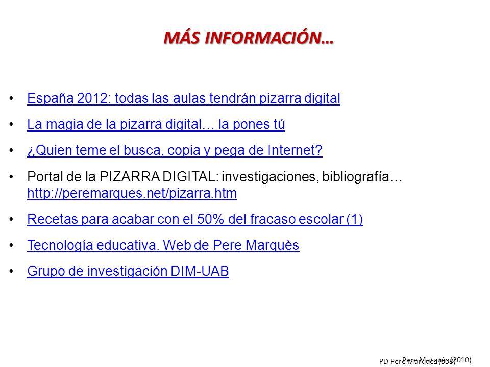 España 2012: todas las aulas tendrán pizarra digital La magia de la pizarra digital… la pones tú ¿Quien teme el busca, copia y pega de Internet? Porta