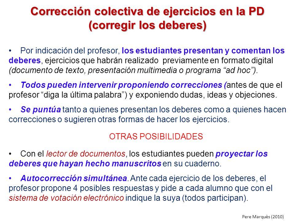 Corrección colectiva de ejercicios en la PD (corregir los deberes) Por indicación del profesor, los estudiantes presentan y comentan los deberes, ejer