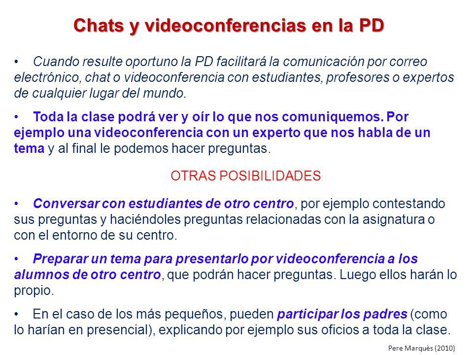 Chats y videoconferencias en la PD Cuando resulte oportuno la PD facilitará la comunicación por correo electrónico, chat o videoconferencia con estudi