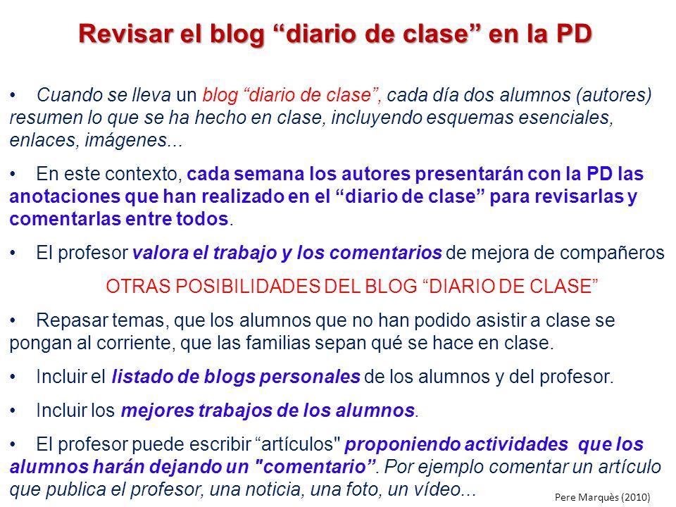 Revisar el blog diario de clase en la PD Cuando se lleva un blog diario de clase, cada día dos alumnos (autores) resumen lo que se ha hecho en clase,
