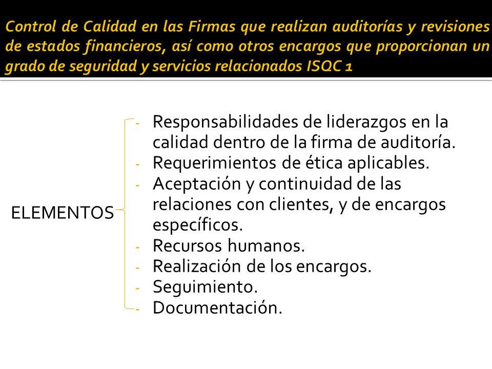 Control de calidad en las firmas de auditoría - ISQC 1 CONTROL DE CALIDAD Control de calidad de auditoría de estados financieros - NIA 220