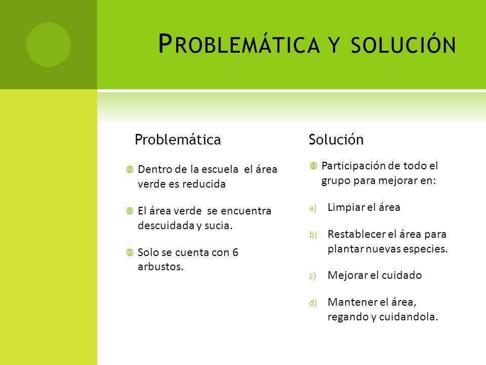 P ROBLEMÁTICA Y SOLUCIÓN Problemática Dentro de la escuela el área verde es reducida El área verde se encuentra descuidada y sucia.