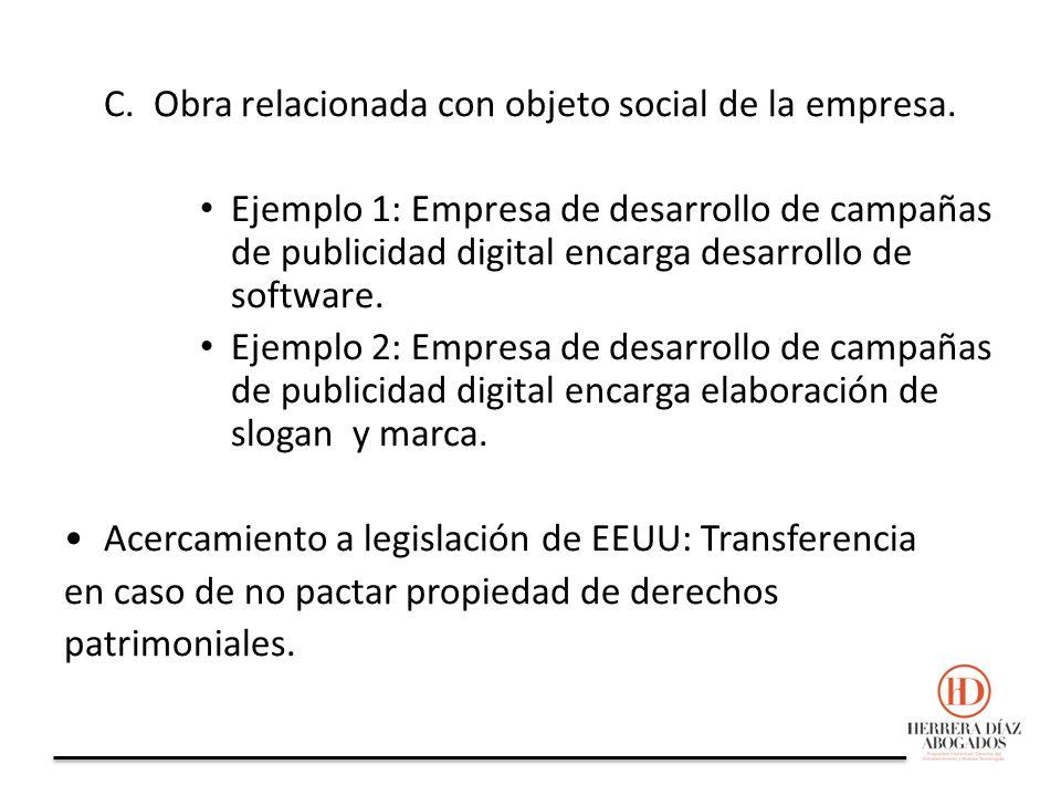 C. Obra relacionada con objeto social de la empresa.