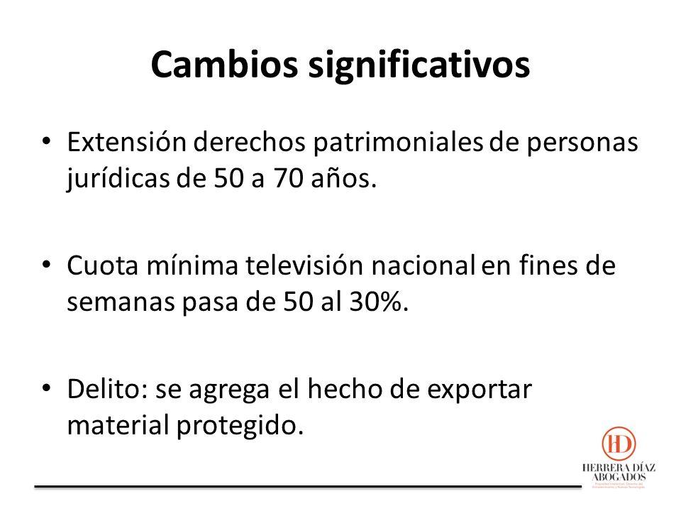 Cambios significativos Extensión derechos patrimoniales de personas jurídicas de 50 a 70 años.