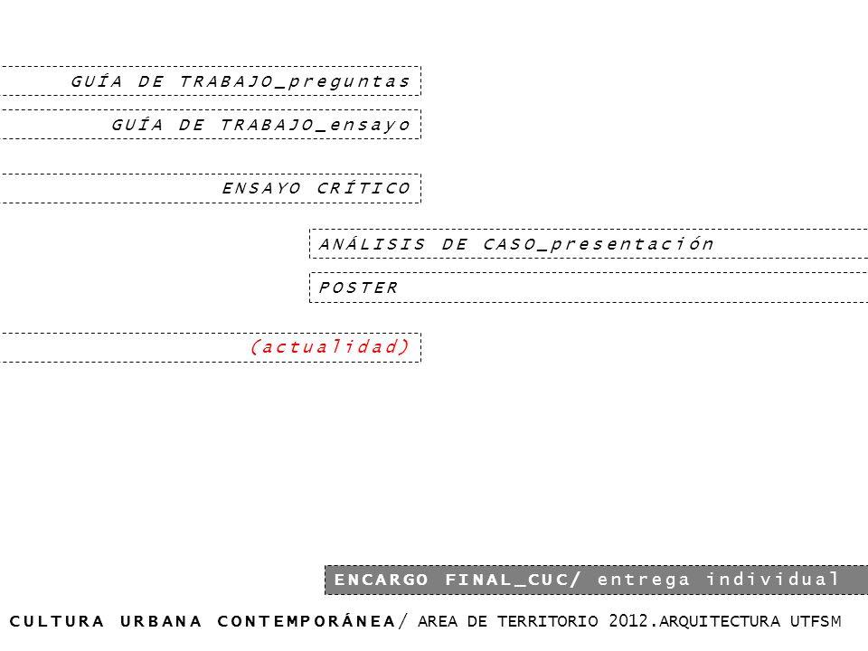 CULTURA URBANA CONTEMPORÁNEA/ AREA DE TERRITORIO 2012.ARQUITECTURA UTFSM ENCARGO FINAL_CUC/ entrega individual GUÍA DE TRABAJO_preguntas GUÍA DE TRABAJO_ensayo ENSAYO CRÍTICO ANÁLISIS DE CASO_presentación (actualidad) POSTER