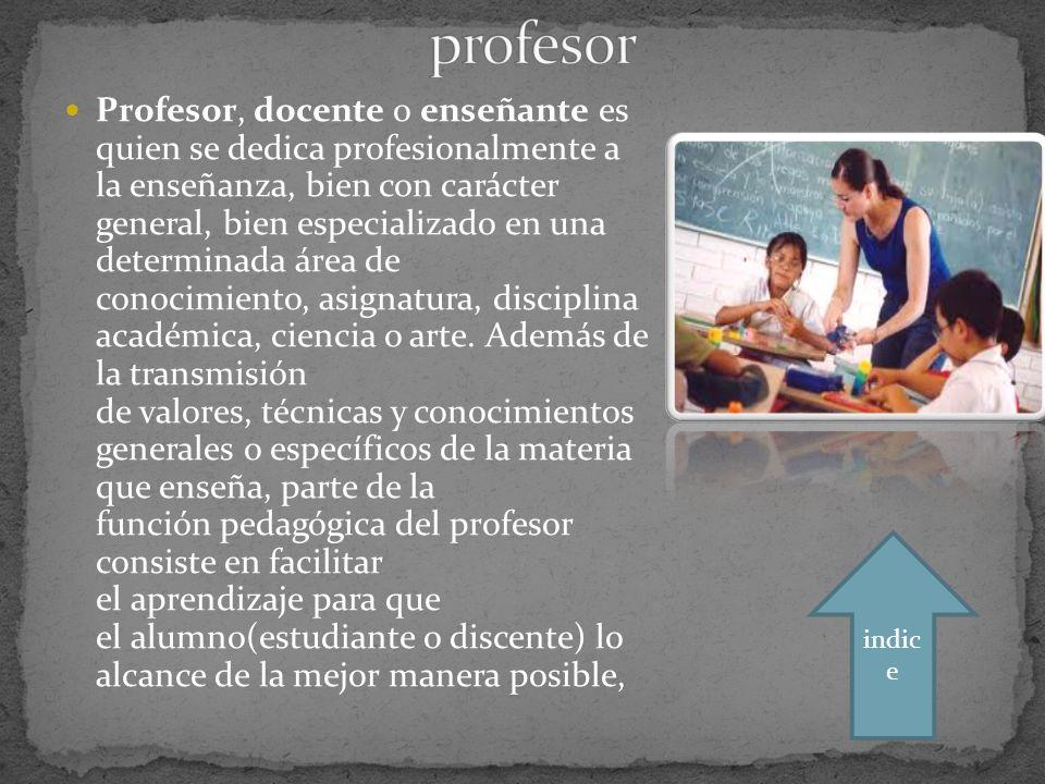 Profesor, docente o enseñante es quien se dedica profesionalmente a la enseñanza, bien con carácter general, bien especializado en una determinada área de conocimiento, asignatura, disciplina académica, ciencia o arte.