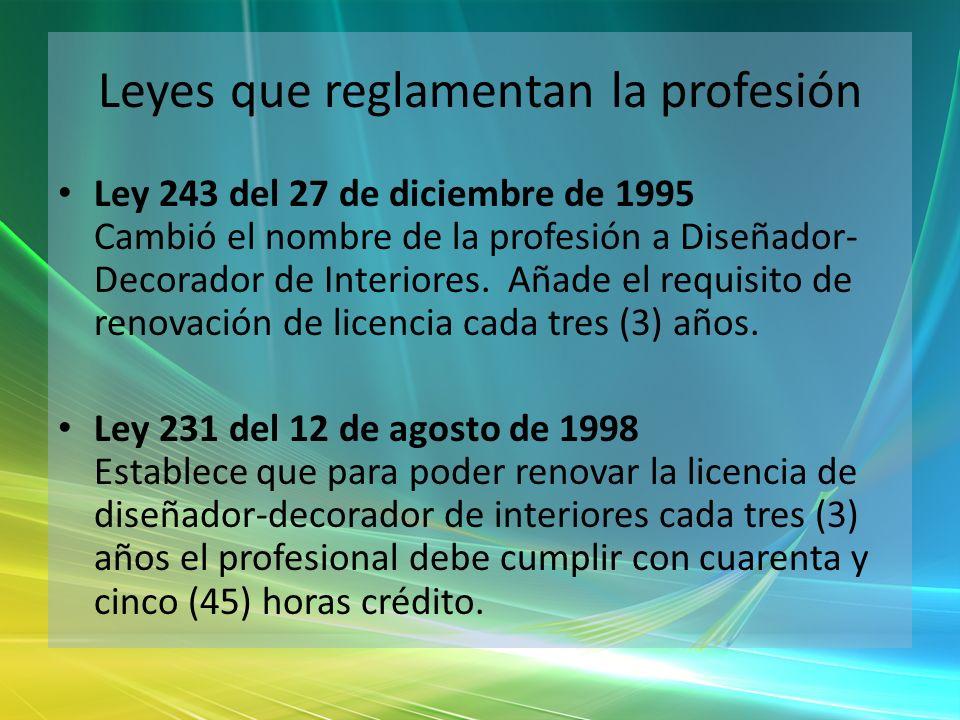 Leyes que reglamentan la profesión Ley 243 del 27 de diciembre de 1995 Cambió el nombre de la profesión a Diseñador- Decorador de Interiores. Añade el
