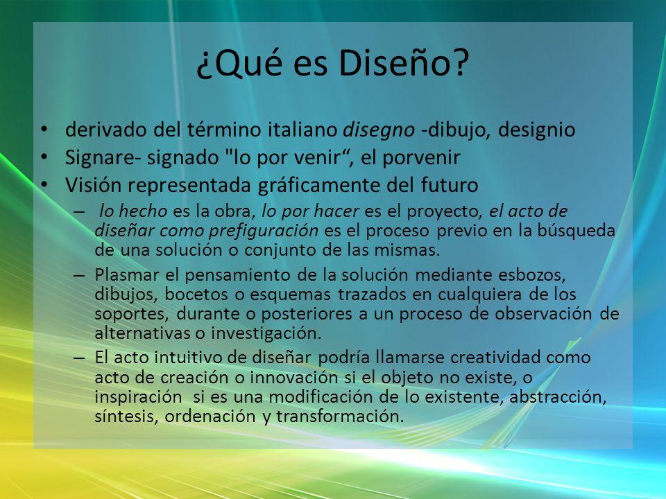 ¿Qué es Diseño? derivado del término italiano disegno -dibujo, designio Signare- signado