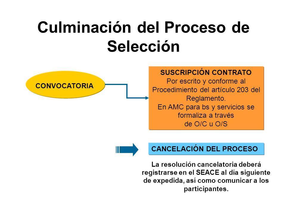 Culminación del Proceso de Selección SUSCRIPCIÓN CONTRATO Por escrito y conforme al Procedimiento del artículo 203 del Reglamento.