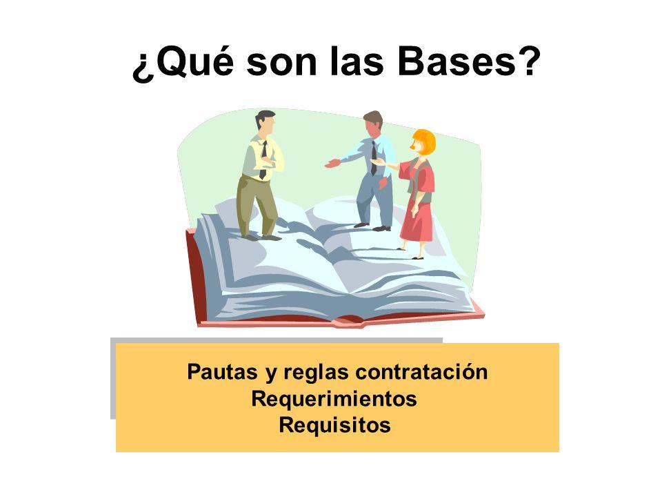 ¿Qué son las Bases? Pautas y reglas contratación Requerimientos Requisitos