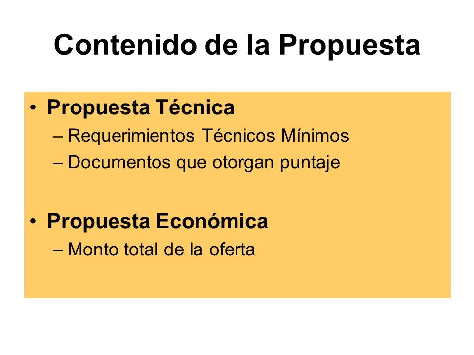 Contenido de la Propuesta Propuesta Técnica –Requerimientos Técnicos Mínimos –Documentos que otorgan puntaje Propuesta Económica –Monto total de la oferta