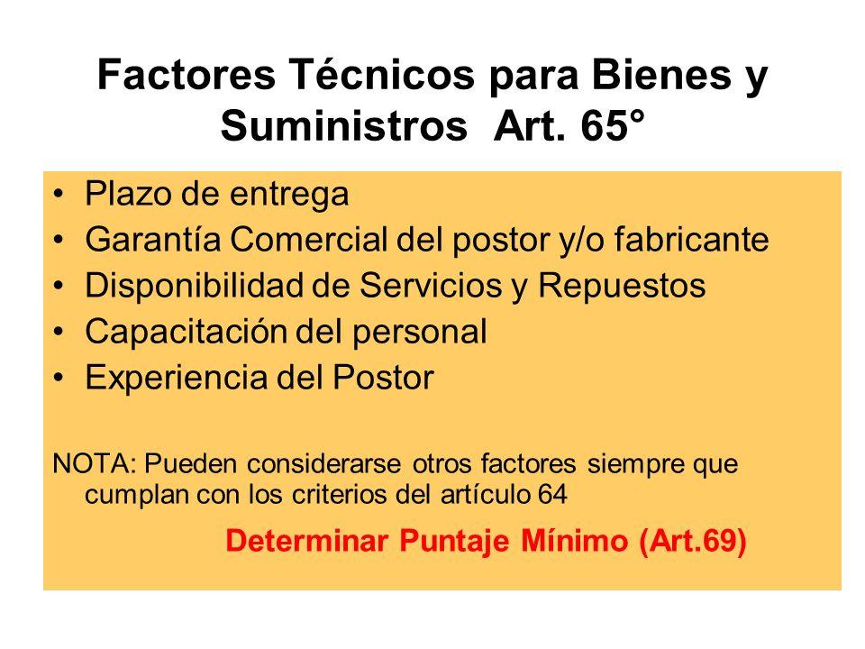 Factores Técnicos para Bienes y Suministros Art.
