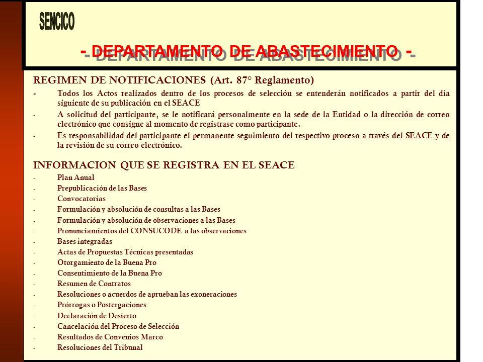 - DEPARTAMENTO DE ABASTECIMIENTO - REGIMEN DE NOTIFICACIONES (Art.
