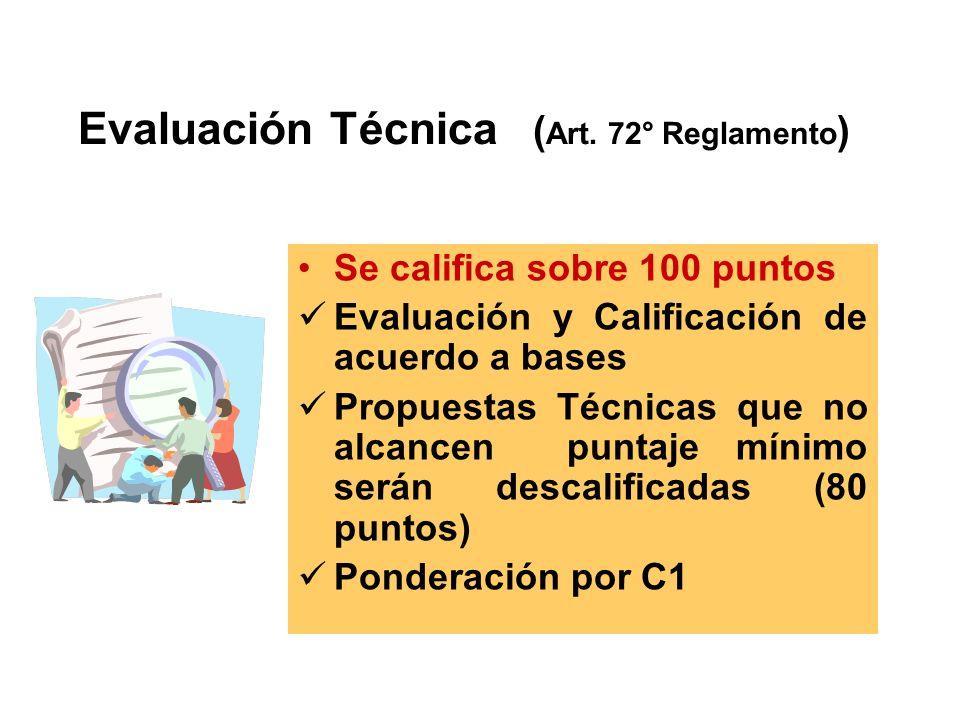 Se califica sobre 100 puntos Evaluación y Calificación de acuerdo a bases Propuestas Técnicas que no alcancen puntaje mínimo serán descalificadas (80 puntos) Ponderación por C1 Evaluación Técnica ( Art.