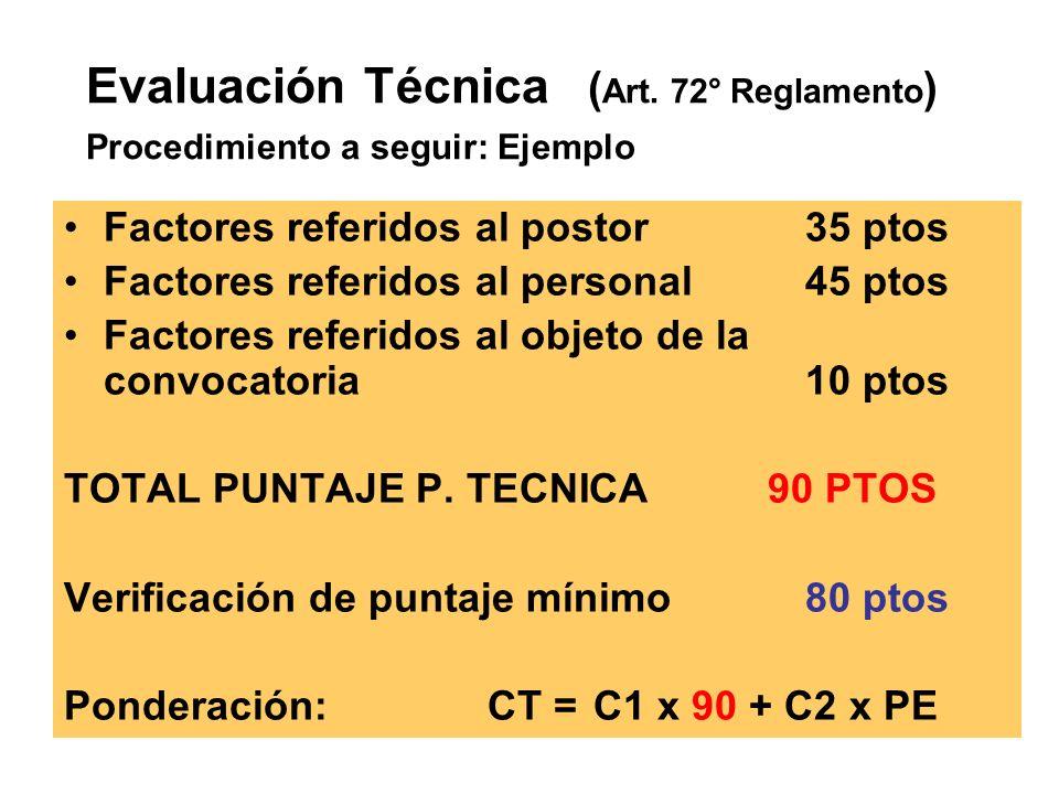 Factores referidos al postor35 ptos Factores referidos al personal45 ptos Factores referidos al objeto de la convocatoria10 ptos TOTAL PUNTAJE P.