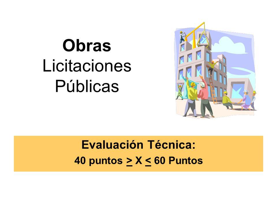Obras Licitaciones Públicas Evaluación Técnica: 40 puntos > X < 60 Puntos