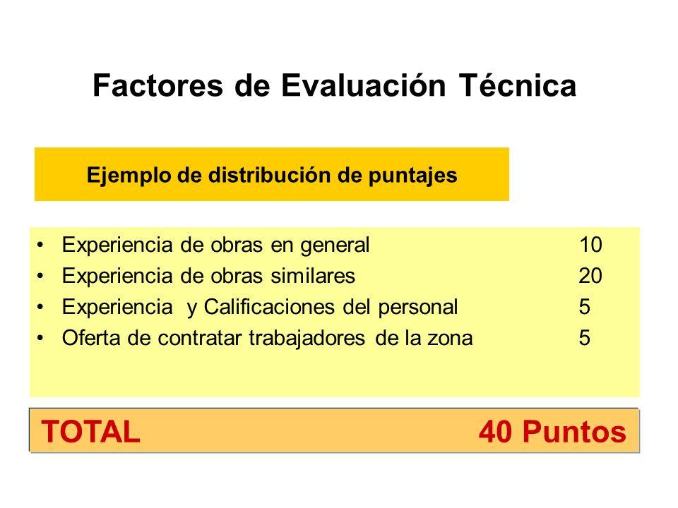 Factores de Evaluación Técnica Experiencia de obras en general 10 Experiencia de obras similares 20 Experiencia y Calificaciones del personal5 Oferta de contratar trabajadores de la zona5 TOTAL 40 Puntos Ejemplo de distribución de puntajes