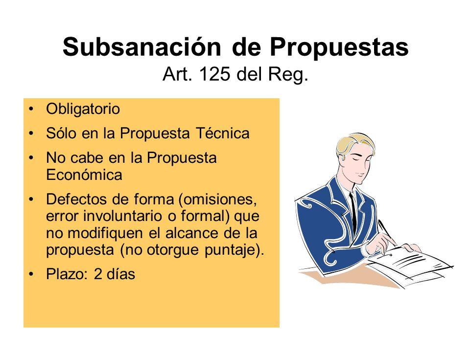 Subsanación de Propuestas Art.125 del Reg.