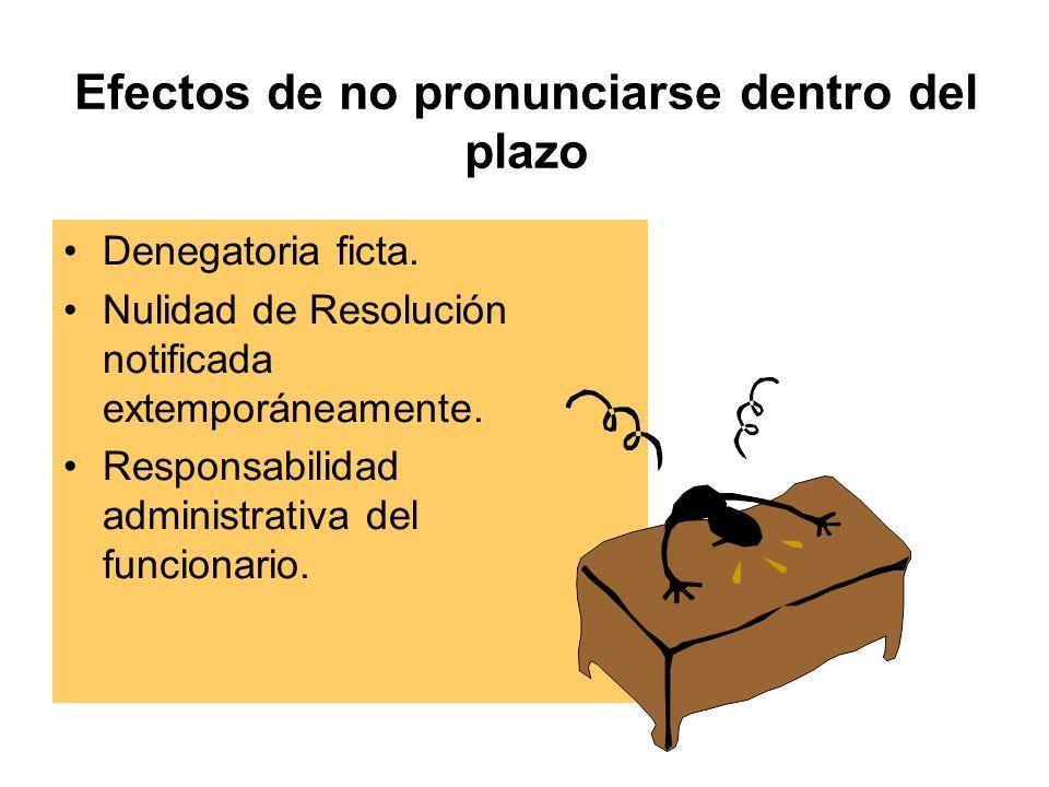 Efectos de no pronunciarse dentro del plazo Denegatoria ficta.