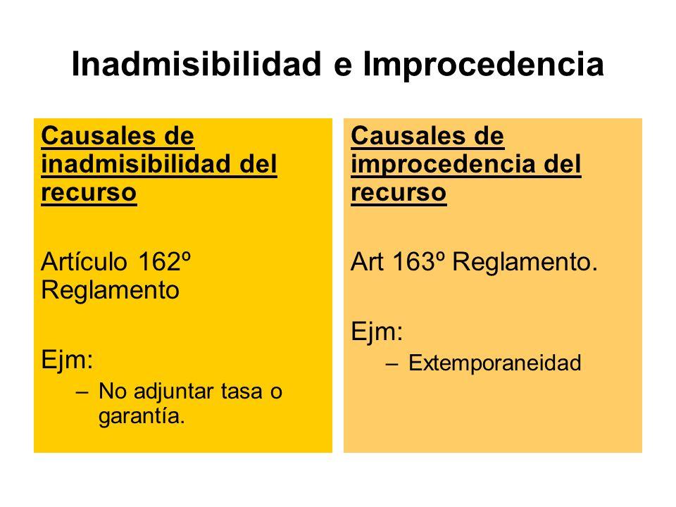 Inadmisibilidad e Improcedencia Causales de inadmisibilidad del recurso Artículo 162º Reglamento Ejm: –No adjuntar tasa o garantía.