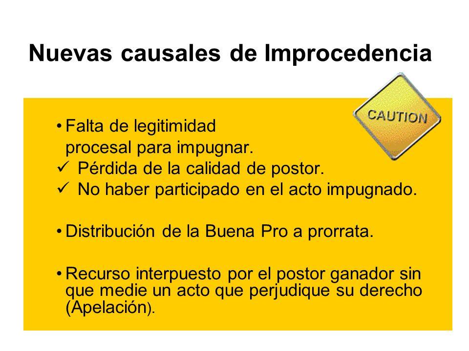 Nuevas causales de Improcedencia Falta de legitimidad procesal para impugnar.