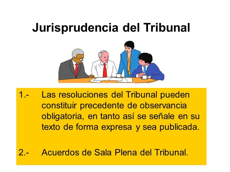 Jurisprudencia del Tribunal 1.-Las resoluciones del Tribunal pueden constituir precedente de observancia obligatoria, en tanto así se señale en su texto de forma expresa y sea publicada.