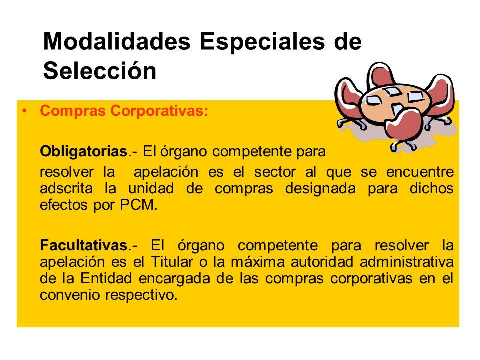 Modalidades Especiales de Selección Compras Corporativas: Obligatorias.- El órgano competente para resolver la apelación es el sector al que se encuentre adscrita la unidad de compras designada para dichos efectos por PCM.