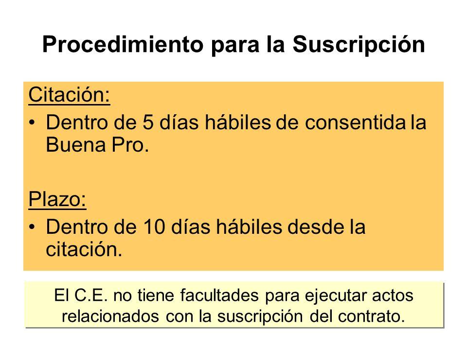 Procedimiento para la Suscripción Citación: Dentro de 5 días hábiles de consentida la Buena Pro.
