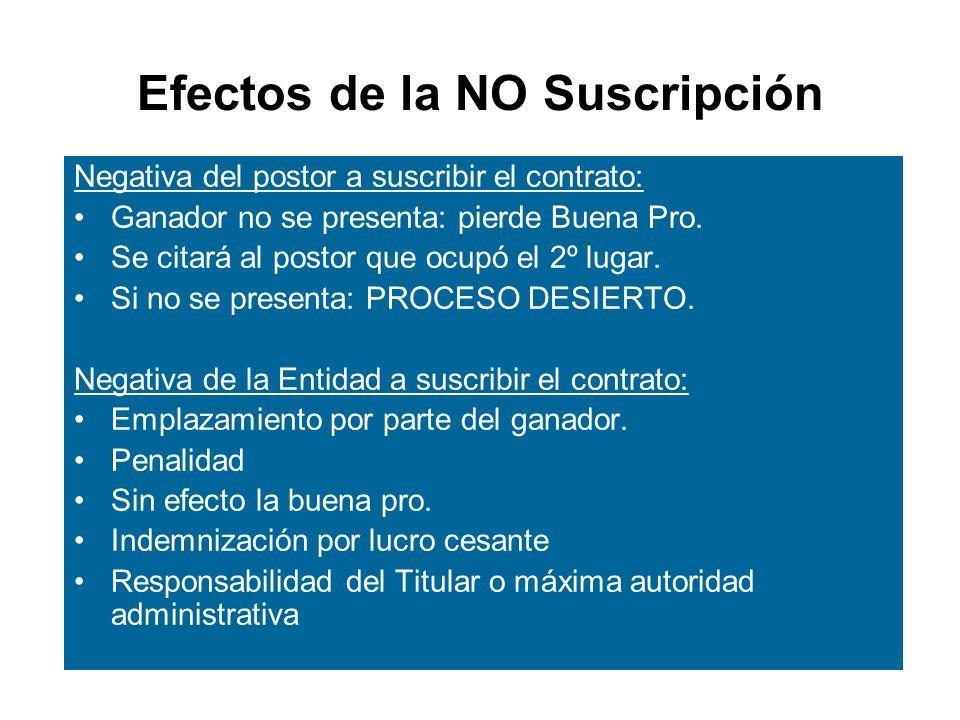 Efectos de la NO Suscripción Negativa del postor a suscribir el contrato: Ganador no se presenta: pierde Buena Pro.
