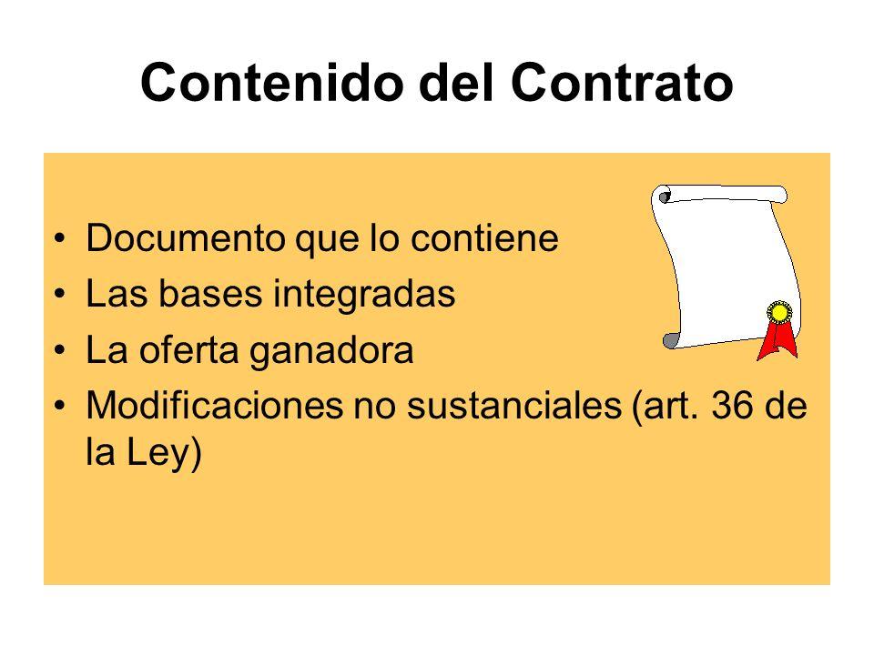 Contenido del Contrato Documento que lo contiene Las bases integradas La oferta ganadora Modificaciones no sustanciales (art.
