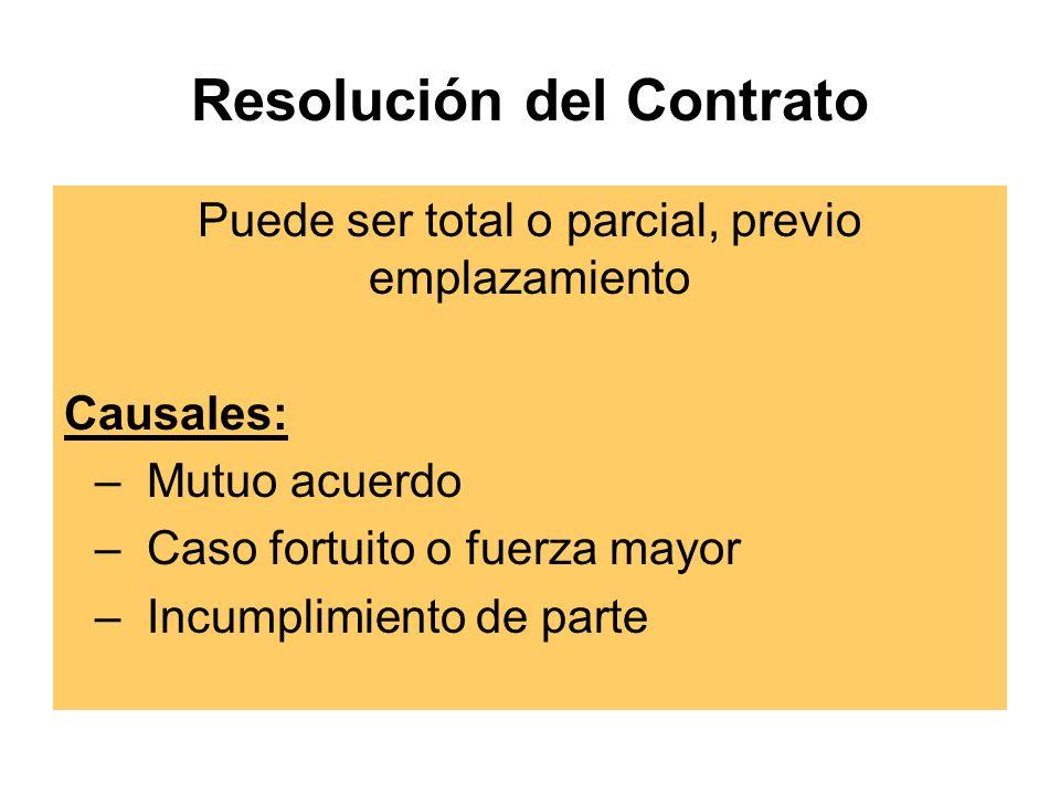 Resolución del Contrato Puede ser total o parcial, previo emplazamiento Causales: –Mutuo acuerdo –Caso fortuito o fuerza mayor –Incumplimiento de parte