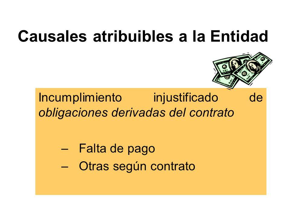 Causales atribuibles a la Entidad Incumplimiento injustificado de obligaciones derivadas del contrato –Falta de pago –Otras según contrato