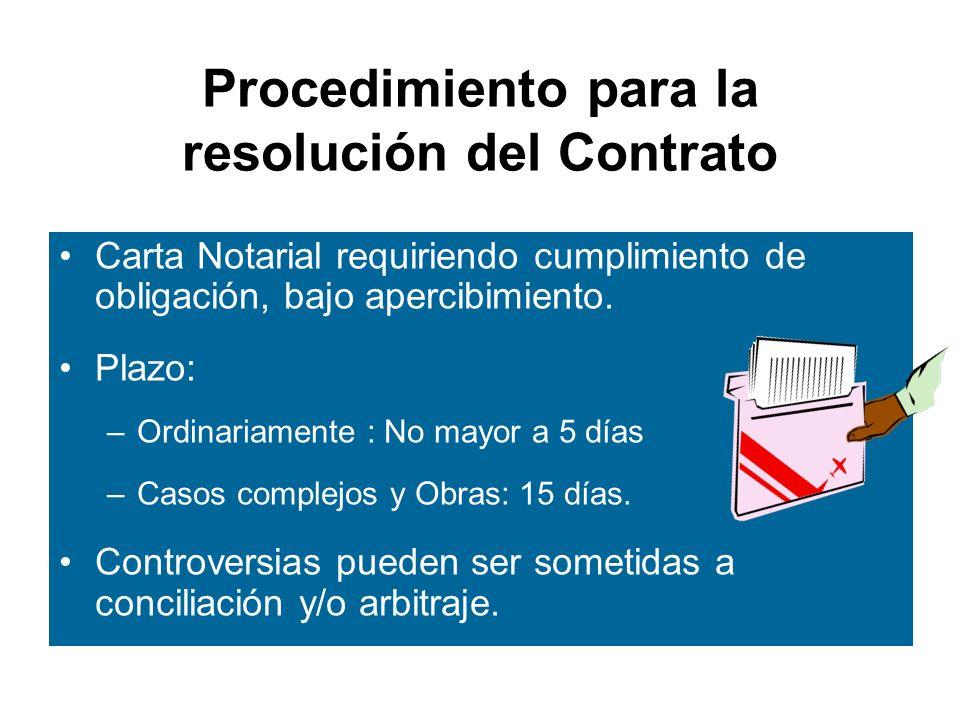 Procedimiento para la resolución del Contrato Carta Notarial requiriendo cumplimiento de obligación, bajo apercibimiento.