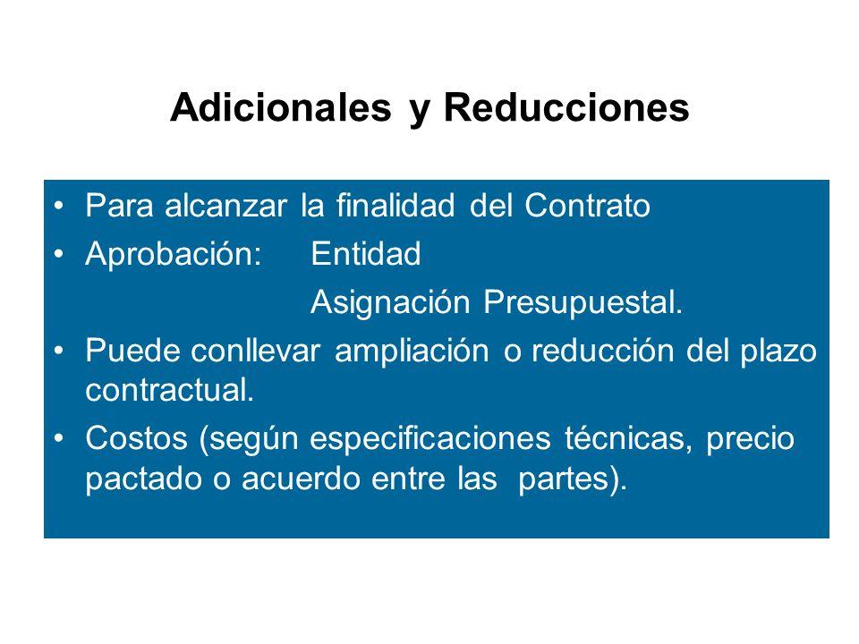 Adicionales y Reducciones Para alcanzar la finalidad del Contrato Aprobación: Entidad Asignación Presupuestal.