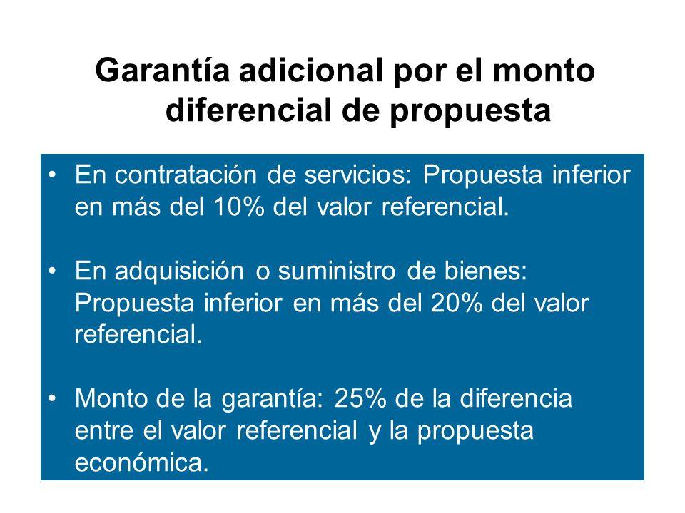 Garantía adicional por el monto diferencial de propuesta En contratación de servicios: Propuesta inferior en más del 10% del valor referencial.