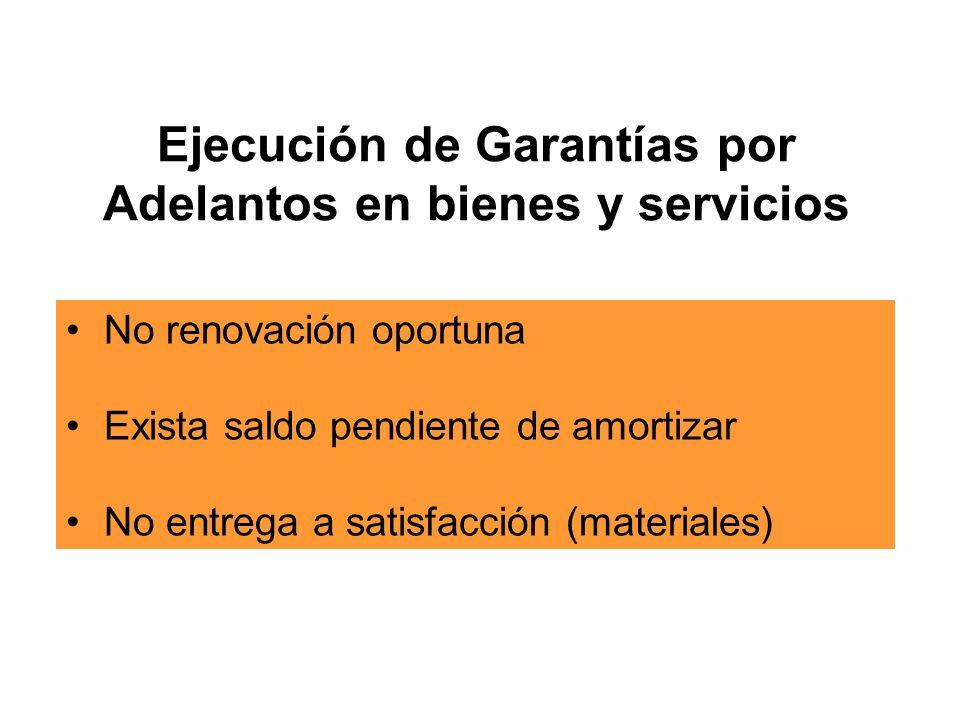 Ejecución de Garantías por Adelantos en bienes y servicios No renovación oportuna Exista saldo pendiente de amortizar No entrega a satisfacción (materiales)