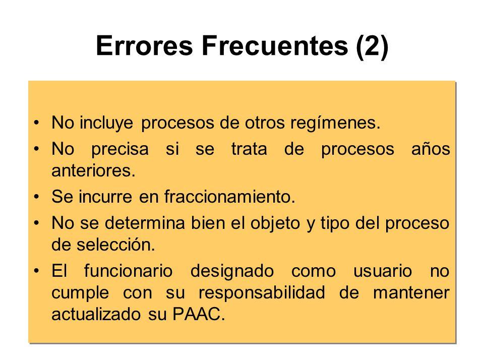 Errores Frecuentes (2) No incluye procesos de otros regímenes.