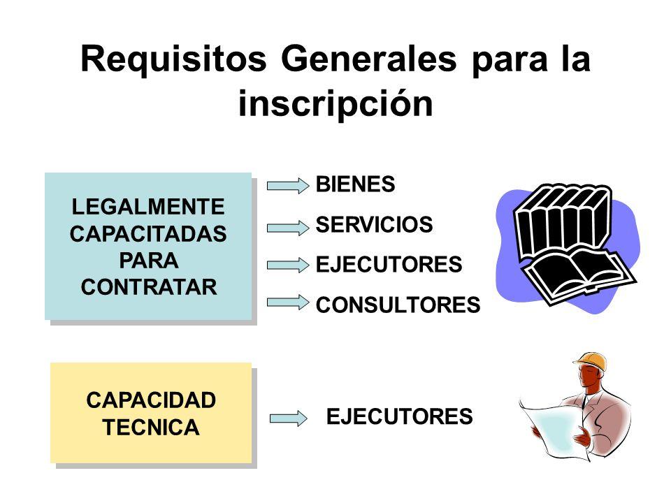 CAPACIDAD TECNICA CAPACIDAD TECNICA LEGALMENTE CAPACITADAS PARA CONTRATAR Requisitos Generales para la inscripción BIENES SERVICIOS EJECUTORES CONSULTORES EJECUTORES