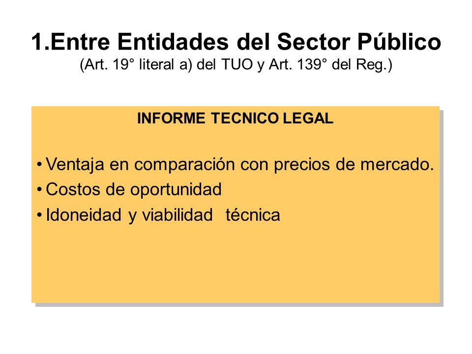 1.Entre Entidades del Sector Público (Art.19° literal a) del TUO y Art.
