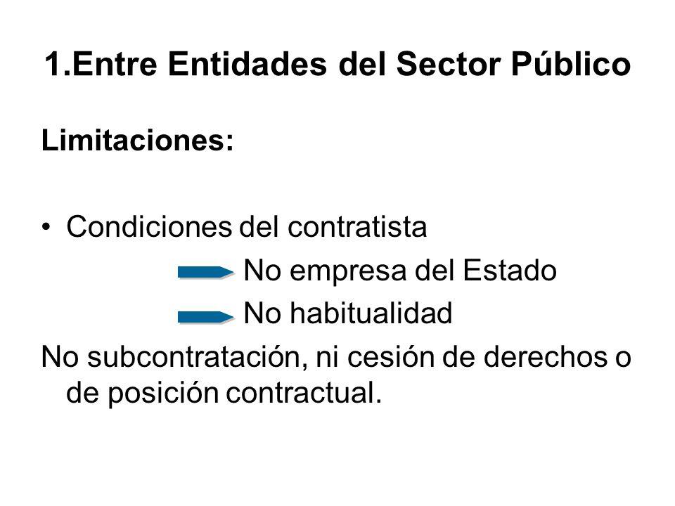 1.Entre Entidades del Sector Público Limitaciones: Condiciones del contratista No empresa del Estado No habitualidad No subcontratación, ni cesión de derechos o de posición contractual.