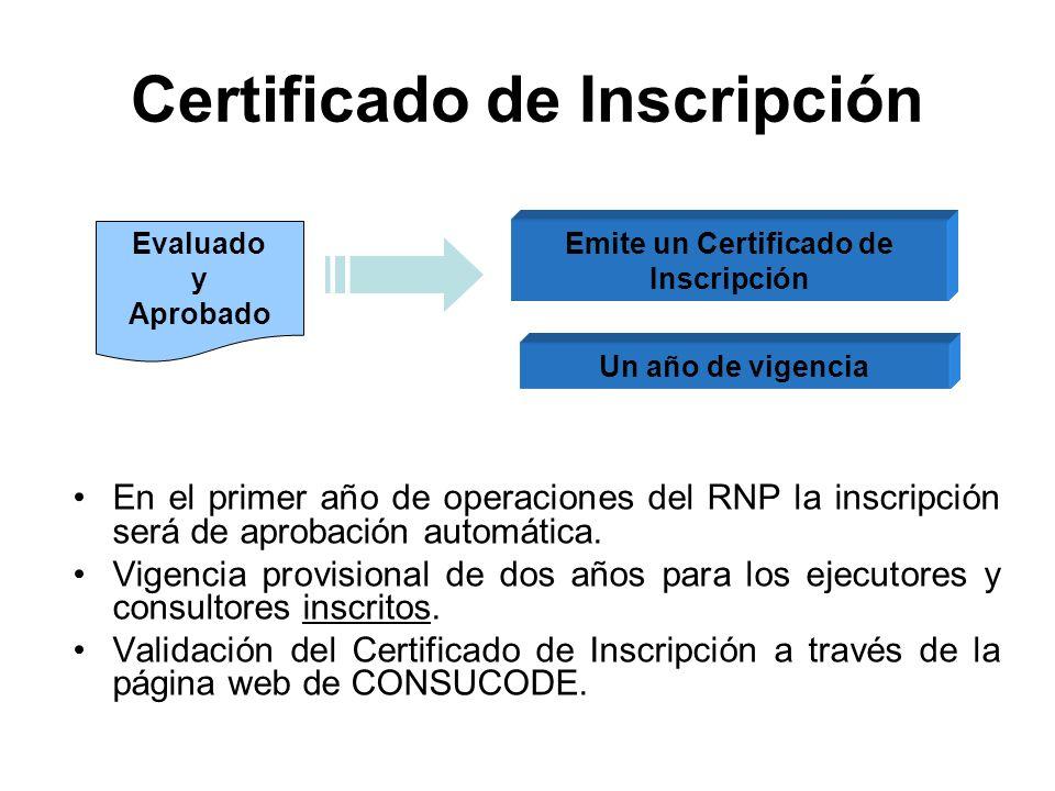 Emite un Certificado de Inscripción Evaluado y Aprobado Certificado de Inscripción En el primer año de operaciones del RNP la inscripción será de aprobación automática.