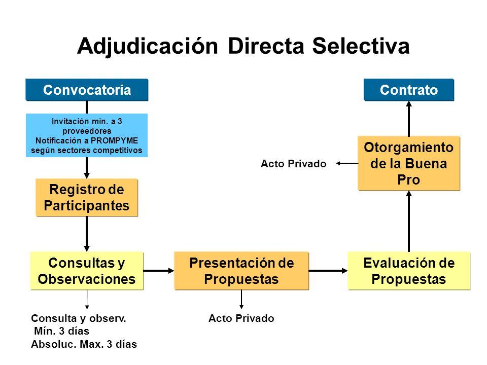 Adjudicación Directa Selectiva Convocatoria Registro de Participantes Consultas y Observaciones Presentación de Propuestas Evaluación de Propuestas Otorgamiento de la Buena Pro Contrato Invitación mín.