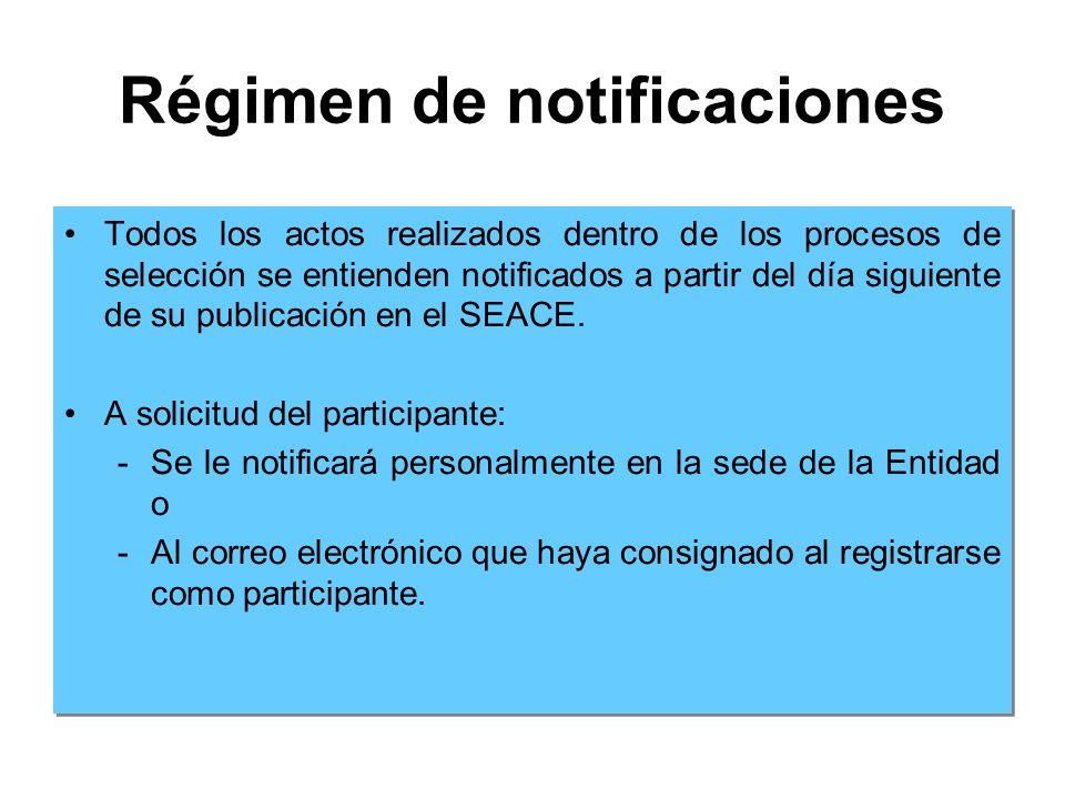 Régimen de notificaciones Todos los actos realizados dentro de los procesos de selección se entienden notificados a partir del día siguiente de su publicación en el SEACE.