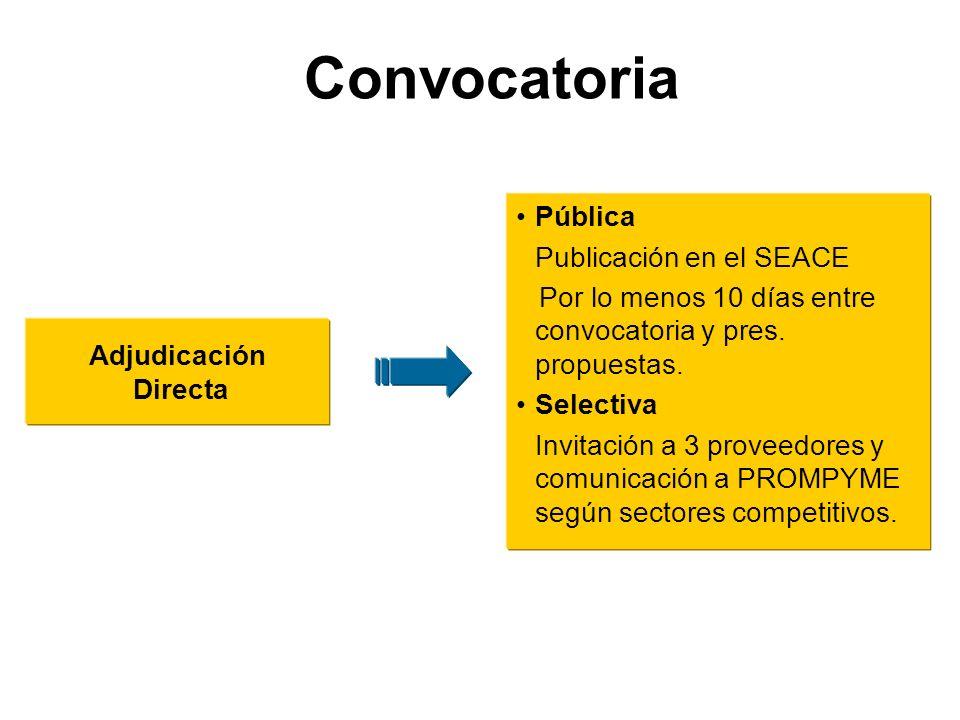 Adjudicación Directa Pública Publicación en el SEACE Por lo menos 10 días entre convocatoria y pres.