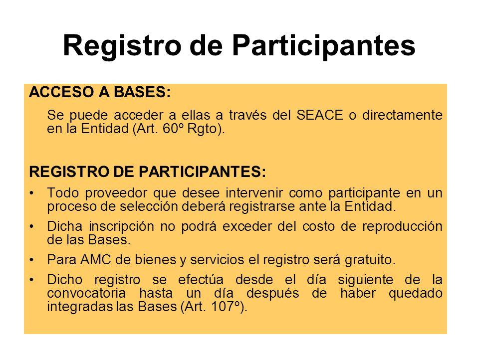 Registro de Participantes ACCESO A BASES: Se puede acceder a ellas a través del SEACE o directamente en la Entidad (Art.