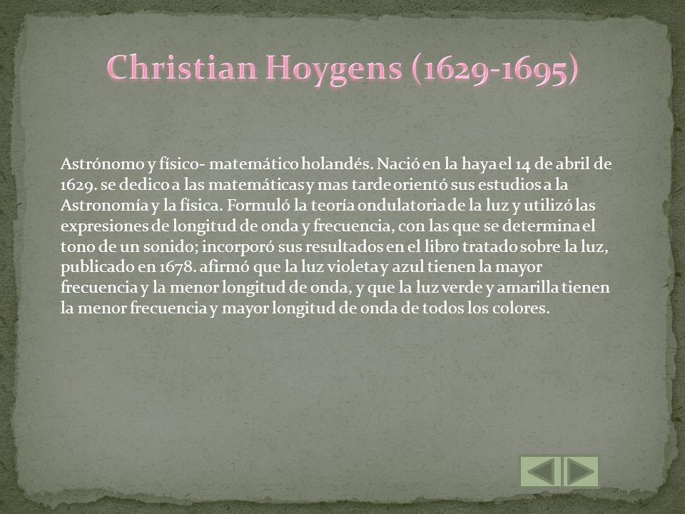 Astrónomo y físico- matemático holandés. Nació en la haya el 14 de abril de 1629. se dedico a las matemáticas y mas tarde orientó sus estudios a la As